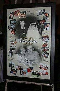 Wedding Anniversary Party Ideas – Real Life Inspiration anniversary collage – perfect for a party decoration 50th Wedding Anniversary Decorations, Wedding Anniversary Celebration, Parents Anniversary, Golden Wedding Anniversary, 40th Anniversary, 50 Anniversary Gift Ideas, Anniversary Pictures, Anniversary Quotes, Wedding Decorations