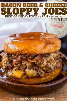 Beer and Cheese Sloppy Joes are the perfect gameday food for a crowd with a Guinness sauce and sharp cheddar cheese filling.Bacon, Beer and Cheese Sloppy Joes are the perfect gameday food for a crowd with a Guinness sauce and sharp cheddar cheese filling. Beef Dishes, Food Dishes, Main Dishes, Cheese Dishes, Food Platters, Meat Recipes, Cooking Recipes, Recipes Dinner, Sandwich Recipes