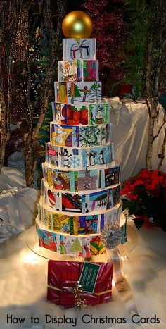 How to Display Christmas Cards - some ways you have probably seen and other unique ways to display Christmas cards.
