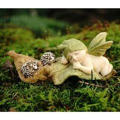 Miniaturas casa de muñecas hadas jardín  durmiendo hadas bebé