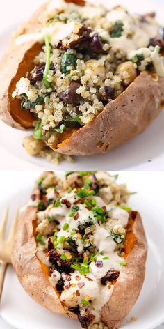 Vegan Stuffed Sweet Potatoes recipe filled with a Mediterranean Quinoa using sun-dried tomatoes, olives, spinach and tons of flavor! Super healthy and easy - baked in the oven! Delicious vegan and gluten-free dinner idea. Tasty Vegetarian Recipes, Vegan Dinner Recipes, Whole Food Recipes, Diet Recipes, Breakfast Recipes, Cooking Recipes, Vegan Recipes With Sweet Potatoes, Dinner Ideas With Potatoes, Vegan Stuffed Sweet Potato