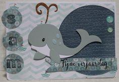Gemaakt door Joke # Kinderkaart met walvis, voor Sam, 5 jaar