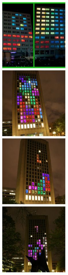 В настоящее время, этот проект использует светодиодные модули, которые контролируются в частотном диапазоне 2,4ГГц, превращая фасад здания в полноцветный светодиодный дисплей, отображая пиксельную анимацию под соответствующее музыкальное сопровождение. #светодиоды #подсветка #модули #светодиодныемодули #светодиоднаяподсветка #световаяреклама #световаярекламанаокнах #светодиоднаялента #каксделатьподсветкуокна #подсветкаоконсвоимируками #подсветкаокна #фасад #подсветкафасада #фасадздания