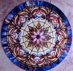 Lavender Blue Starburst Glass Floor Tile