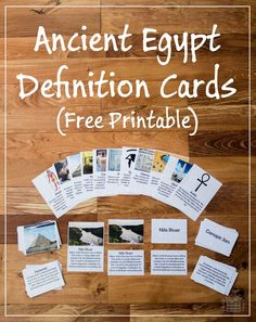Ancient Egypt Definition Cards - Free printable for teaching kids words relevant to Ancient Egypt such as pharaoh, sarcophagus, hieroglyph, and ankh - ResearchParent.com