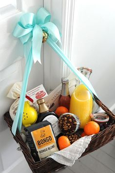 Made this breakfast in bed basket as a bridal shower gift for A host and hostess for the bed breakfast