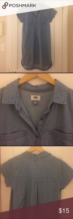 """Old Navy chambray/denim shift dress Soft, 100% cotton chambray/denim shift dress. Worn throughout summer & fall 2016, in great condition. 34"""" in front (shoulder to hem) and 36"""" in back. Bundle for a discount! Old Navy Dresses"""