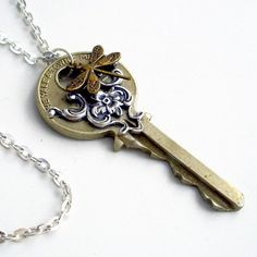Recycled Key Necklace Handmade Jewelry Key Dragonfly Pendant - Flying Home