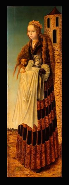 Saint Barbara/Heilige Barbara, Lucas Cranach der Ältere/the Elder; the saint is shown with her symbolic attribute: a tower with three windows (symbolising the Holy Trinity). Renaissance Kunst, Renaissance Portraits, Renaissance Paintings, Italian Renaissance, Fra Angelico, Saint Barbara, Marie Madeleine, Lucas Cranach, Landsknecht