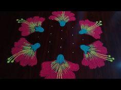 easy chukkala muggu 💮🙏🙏 simple hibiscus rangoli art by kotesware ☺️☺️👍👍 Easy Rangoli Patterns, Simple Rangoli Kolam, Rangoli Borders, Rangoli Border Designs, Kolam Rangoli, Simple Rangoli Designs Images, Rangoli Designs With Dots, Rangoli With Dots, Beautiful Rangoli Designs