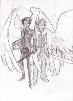 more doodles of my favorite fictional husbands(also crowley without his glasses is the best thing) also my best friend and i have matching good omens books! we may also be going to prom as crowley(me). Character Inspiration, Character Design, Good Omens Book, Best Beans, Terry Pratchett, Angels And Demons, Crowley, Best Couple, Neil Gaiman