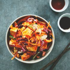 Korean Cabbage Slaw with Tofu