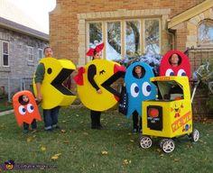 Pac Man Family Halloween Costume Idea - love this especially the stroller idea.