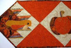 Quilted Table Runner - Autumn Turkey Pumpkin. $39.00, via Etsy.