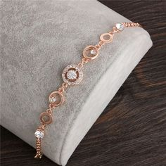 Rose Gold Plated Chain Link Bracelet for Women Ladies Shining AAA Cubic Zircon Crystal Jewelry Gift Wholesale Price Gold Chain Design, Gold Jewellery Design, Crystal Jewelry, Pendant Jewelry, Gold Jewelry, Trendy Jewelry, Diamond Bracelets, Gold Bangles, Women's Bracelets
