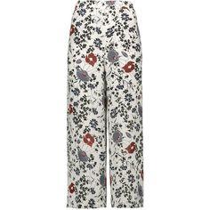 Theory - Raoka Printed Silk-chiffon Wide-leg Pants ($148) ❤ liked on Polyvore featuring pants, white, elastic pants, elastic waist pants, elastic waistband pants, white pull on pants and white elastic waist pants