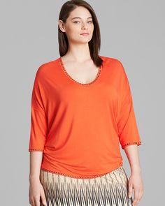 Karen Kane Plus Size Fashion Orange Studded Top   Bloomingdale's #Karen_Kane #Orange #Plus #Size #Fashion #Plus_Size_Fashion #Bloomingdales