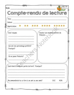 Compte-rendus de lecture from Mahe129 on TeachersNotebook.com -  (6 pages)  - Diff�rent compte-rendus de lecture