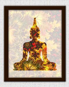 Gold Buddha print gold brown Buddha art brown gold fractal