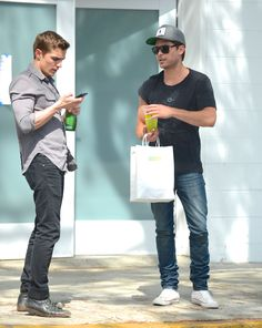 Double dose of good looking! Zac Efron and Dave Franco buddy up to film Townies on Friday.