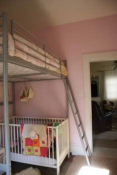 loft bed with a crib underneath, needs more head room, and I wouldn't want to change those sheets. by vol25, via Flickr