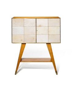 Gio Ponti; Fruitwood, Vellum and Brass Cabinet with Mirrored Glass Interior, c1941.