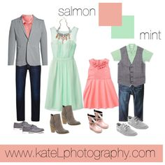 Salmon + Mint // summer and spring family photo outfit inspiration, created by Kate Lemmon www.kateLphotography.com