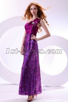 Shine Fuchsia Sequins Long One Shoulder Pretty Party Dress:1st-dress.com