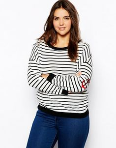 ASOS CURVE Jumper In Stripe With Anchor Elbow