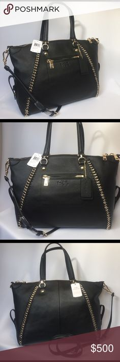 0d733a2f06a1 Pebbled leather bag. Features gold chain and whiplash leather detail.  Inside zip