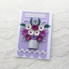 Paper Quilling Card Paper Quilled Silver POT by EnchantedQuilling