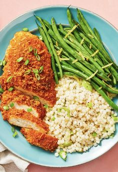 Crispy Parmesan Chicken - Easy chicken recipe with garlic herb couscous and lemony roasted green beans