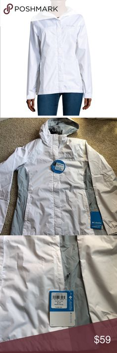 "New! Columbia women's grey skies White- S Brand new with tags. Columbia women's grey skies jacket waterproof. In white. Size small  Product Description Outerwear Length: Short Warmth Factor: Lightweight Features: Water Resistant, Lined Fabric Finish: Water Resistant Fabric Description: Dobby Fabric Content: 100% Nylon Care: Tumble Dry Low, Machine Wash  Length26.5""  Smoke free home Columbia Jackets & Coats"