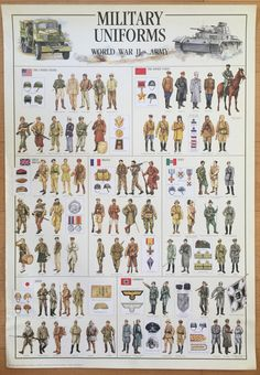 Loisirs créatifs affiche graphique militaire uniformes de WW II affiche 27 x 39…