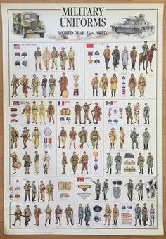Militares uniformes de WW II cartel Hobby cartel gráfico educativo 27 x 39 impreso en Italia Soldados, Tropas, Uniformes Militares, Historia Estadounidense, Ilustraciones Históricas, Pintura De Guerra, Ejercito Alemán, Carteles Gráficos, Maquina De Guerra