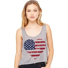 Cropped Tank Top Heart American Flag Summer Outfit Spring Fourth of... ($15) ❤ liked on Polyvore featuring tops, grey, tanks, women's clothing, american flag singlet, usa flag tank top, crop tank, gray water tank and tank top