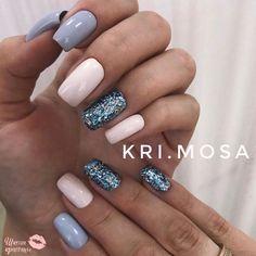 Manicure winter colors sparkle 51 New Ideas Gelish Nails, Nail Manicure, My Nails, Manicure Ideas, Sns Nails Colors, Blue Nails, Classy Nails, Trendy Nails, Nail Shapes Square