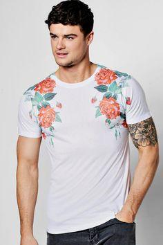 Rose Sublimation Shoulder T Shirt