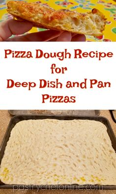 Grandma Pizza Dough Recipe from Perfect Pan Pizza - Food - Learn to make this one simple (honest!) recipe for pizza dough and you will be making pan pizzas, d - Grandma's Pizza, Pizza Pastry, Sauce Pizza, Pizza Lasagna, Crust Pizza, Pastry Chef, Focaccia Pizza, Deep Dish Pizza Dough Recipe, No Knead Pizza Dough