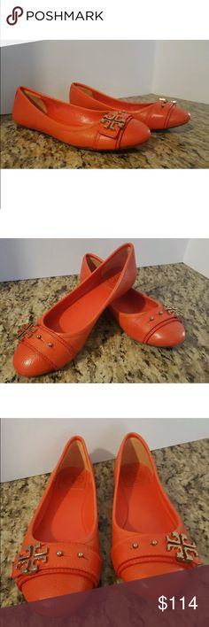 Tory Burch habanero Orange Eloise flats Sz 7.5 Very nice preloved. Only light typical wear - no flaws to note. No box no bag. NO NEGOTIATIONS. Fit TTS in my opinion. Tory Burch Shoes Flats & Loafers