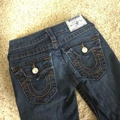 True Religion Dark Wash Skinny Jeans These jeans are in great condition but the zipper is broken. It may be an easy fix but never wear them anyways. True Religion Jeans Skinny