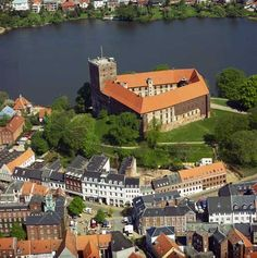 Kolding, Denmark with Koldinghus (castle) on the hill.