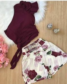 Conjunto 2d0fdf Crop Top Outfits, Teen Fashion Outfits, Mode Outfits, Short Outfits, Classy Outfits, Look Fashion, Stylish Outfits, Fashion Dresses, Cute Comfy Outfits