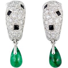 CARTIER PANTHERE Diamond Onyx Emerald Earrings ($22,500) ❤ liked on Polyvore featuring jewelry, earrings, 18k jewelry, 18 karat gold earrings, emerald earrings, 18 karat gold jewelry and diamond jewelry
