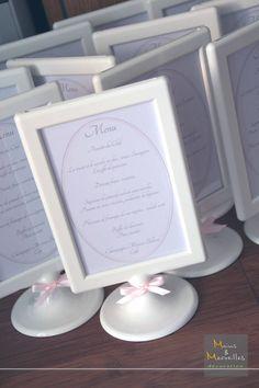 Menu de mariage en blanc, gris et rose