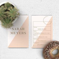 Premade visitekaartje ontwerp / / Blush, goud, Modern, Elegant, Colorblock, Business Branding, Modern, geometrische, driehoeken,…