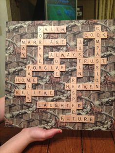 Hunting / camo wedding ideas Duck tape and scrabble tiles