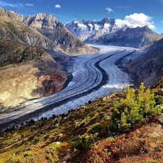 Aletsch Glacier, Switzerland. The Aletsch Glacier a.k.a. Great Aletsch Glacier is the largest glacier in the Alps. It`s approximately 23 km long and has about a volume of 15.4 km3 and covers about 81.7 km2 in the eastern Bernese Alps in the Swiss . Astonishing, right? It`s a nature phenomenon where amazing beauty and harshness is combined.