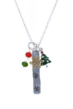 CHRISTMAS TREE CHARM PENDANT NECKLACE SET
