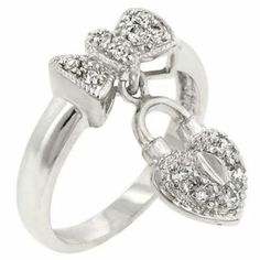 New Vintage Victorian Pave Bow Heart Lock Silver Ring Plus Size 10 USA Seller